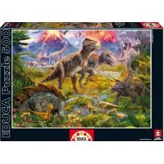 Пазл  Встреча динозавров 500 элементов, EDUCA EDU-15969
