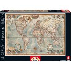 Пазл  Карта мира 1500 элементов, EDUCA EDU-16005