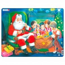 Пазл для маленьких Дед Мороз с детьми, серия МАКСИ, Larsen JUL14