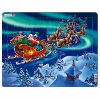 Пазл для маленьких Дед Мороз и северное сияние, серия МАКСИ, Larsen XM1
