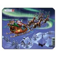 Пазл для маленьких Дед Мороз и северное сияние, серия МИНИ, Larsen Z5