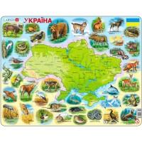 Пазлы рамки-вкладыши Карта Украины - животный мир Larsen, Larsen K37