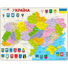 Пазлы рамки-вкладыши Карта Украины - политическая Larsen, Larsen K57