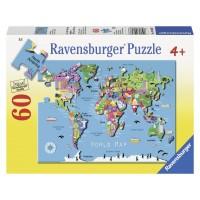 Пазл  Карта мира 60 элементов, Ravensburger RSV-096077